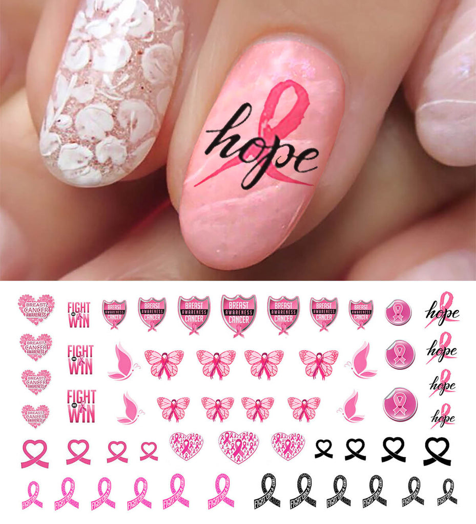 Breast Cancer Awareness Nail Art Decals Set #4 – Moon Sugar Decals