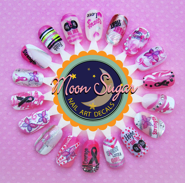 Breast Cancer Awareness Nail Art Decals Set #2