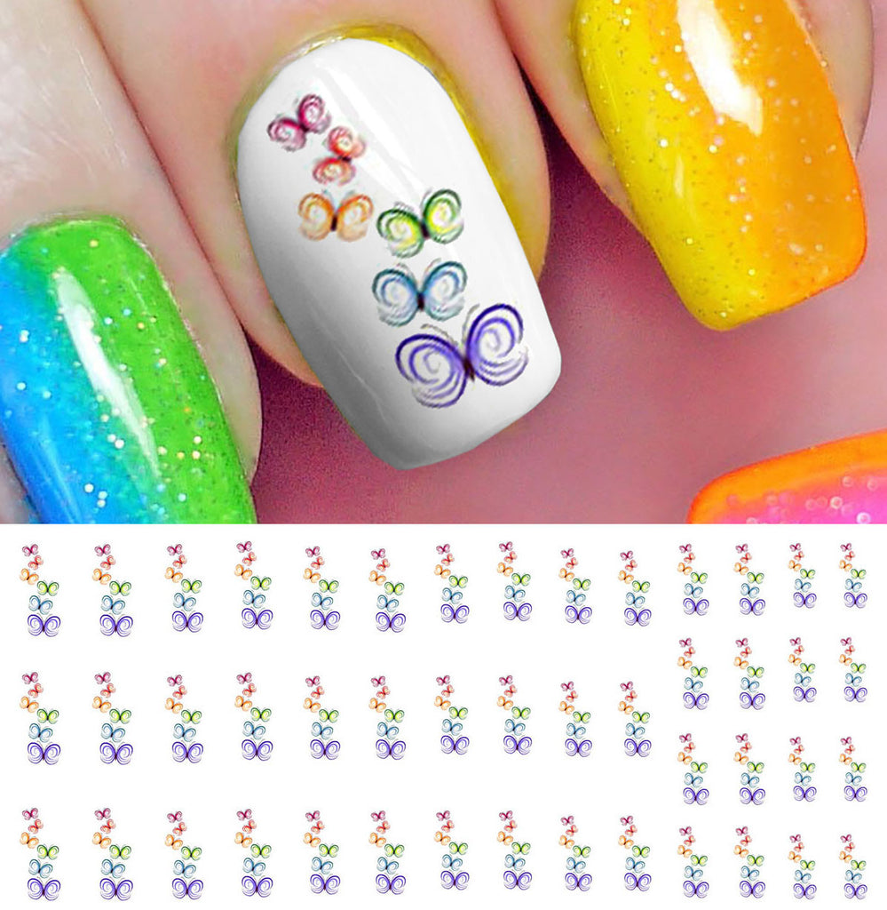 Rainbow Butterfly Stack Nail Art Decals – Moon Sugar Decals