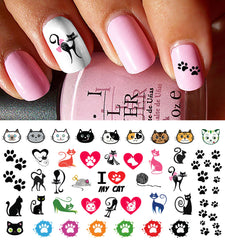I Love My Cat Paw Prints Nail Decals
