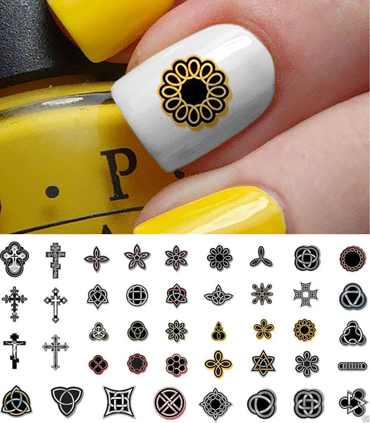 Celtic Cross Nail Art Decals Set #2
