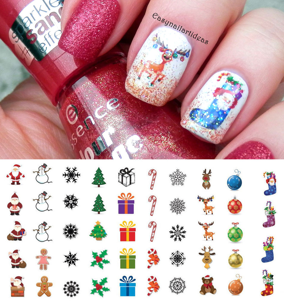 christmas nail art decals set 1