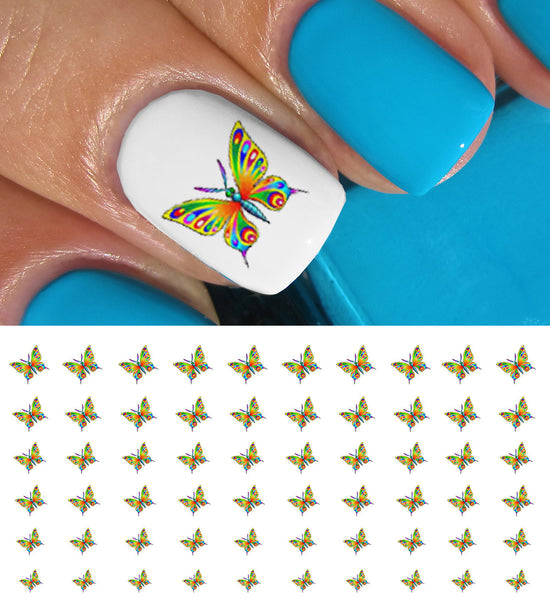 "Colorful Butterfly Nail Decals - 28 decals (5 1/2"" x 3"" sheet)"