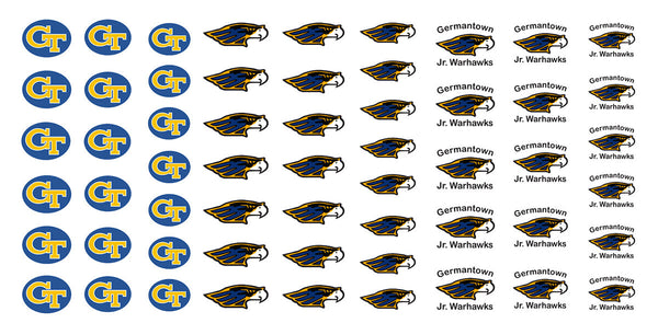 "Germantown Diamond Club Warhawks -  5 1/2"" x 3"" sheet"