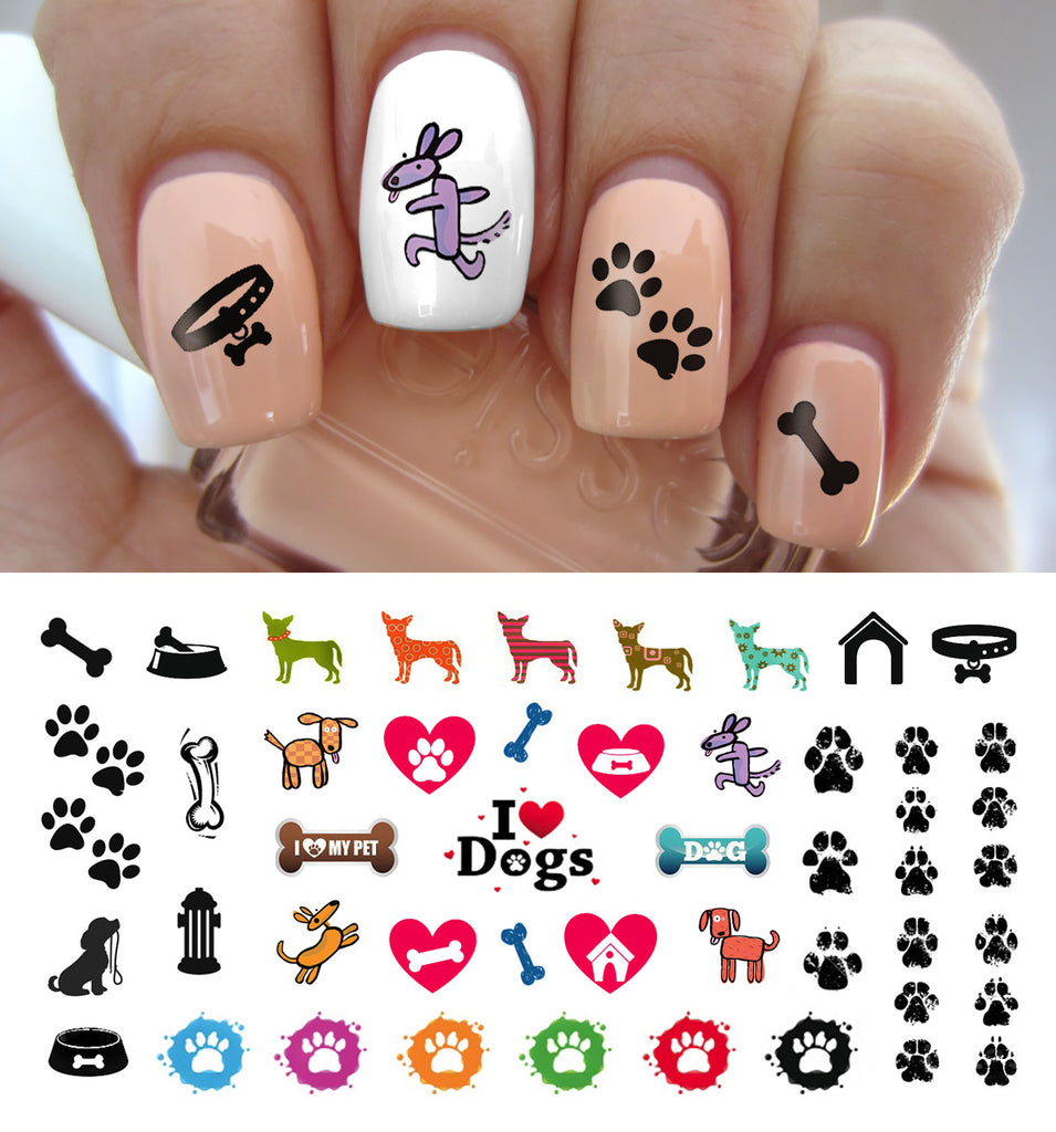 I Love My Dog Paw Prints Nail Decals - 5 1/2\