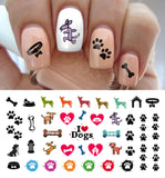 "I Love My Dog Paw Prints Nail Decals - 5 1/2"" x 3"" sheet"
