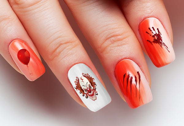 Evil Clowns Halloween Nail Art Decals