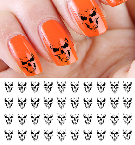 Evil Skulls Halloween Nail Art Decals