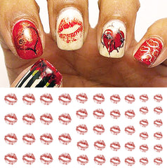 "Faded Lips Nail Decals - 32 decals (5 1/2"" x 3"" sheet)"