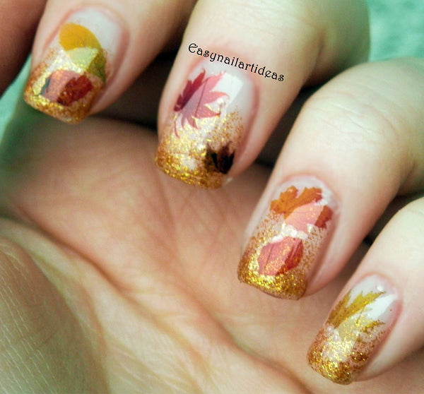 "Autumn Fall Leaves Nail Decals Set #2 - 5 1/2"" x 3"" sheet"