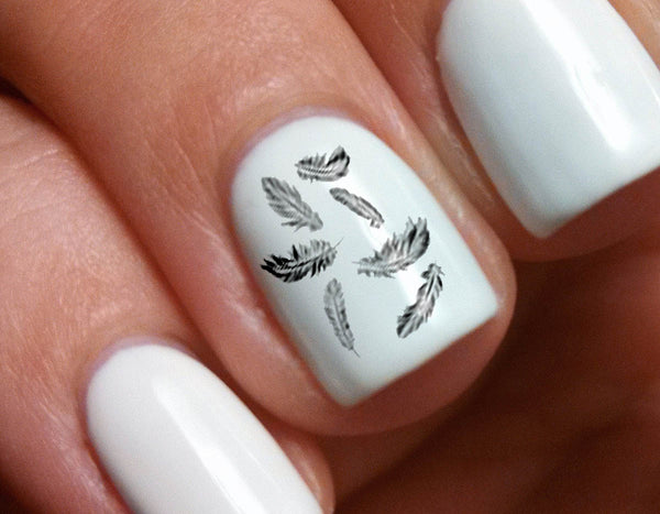 Black Feathers Nail Decals