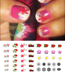 "Flowers Nail Decals Assortment - 46 decals (5 1/2"" x 3"" sheet)"