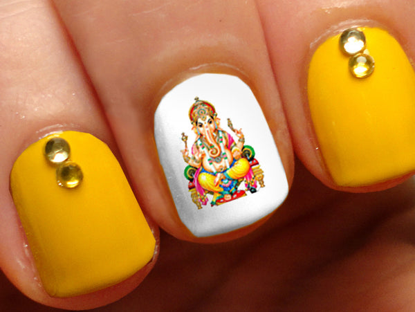 Ganesha Girl Hindu Meditation Indian Nail Art Decals