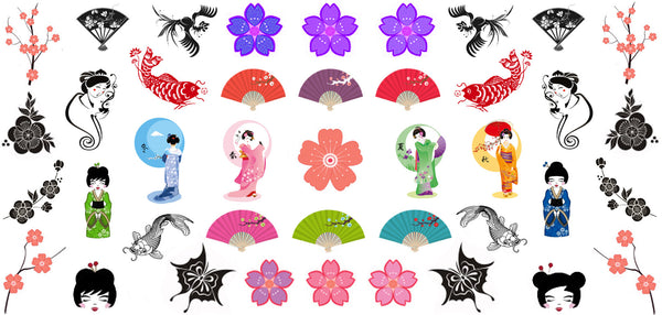 "Geisha Girl Japanese Assortment - (5 1/2"" x 3"" sheet)"
