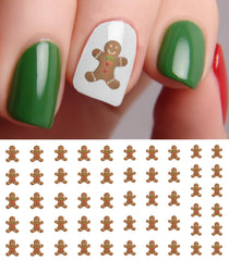 "Christmas Gingerbread Man Nail Decals - 50 decals (5 1/2"" x 3"" sheet)"