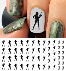 Girl With Gun Nail Decals