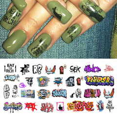 "Graffiti Nail Decals (Set #1) - 17 decals (5 1/2"" x 3"" sheet)"