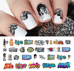 "Graffiti Nail Decals (Set #3) - 16 decals (5 1/2"" x 3"" sheet)"