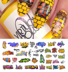 "Graffiti Nail Decals (Set #5) - 14 decals (5 1/2"" x 3"" sheet)"