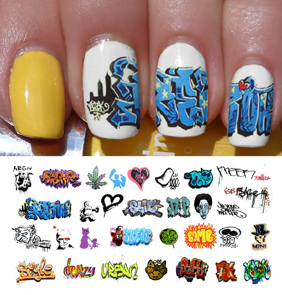 "Graffiti Nail Decals (Set #2) - 15 decals (5 1/2"" x 3"" sheet)"