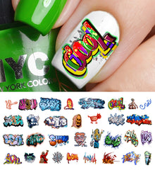 "Graffiti Nail Decals (Set #4) - 15 decals (5 1/2"" x 3"" sheet)"
