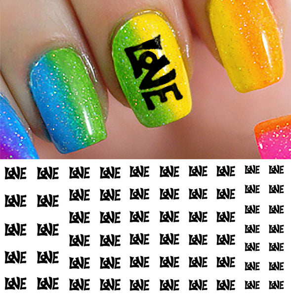 "Groovy ""Love"" Nail Art Decals"
