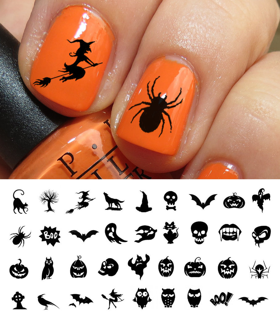 photo relating to Printable Nail Decals named Halloween Nail Artwork Decals Mounted #3 Moon Sugar Decals
