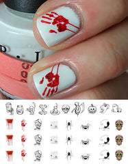 "Halloween Nail Decals Set #1 - 34 decals (5 1/2"" x 3"" sheet)"