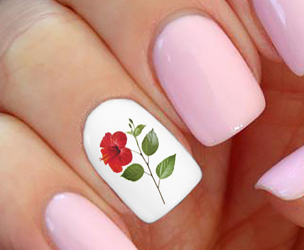 Hibiscus Flower Nail Art Decals