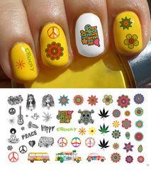 "Hippie Nail Decals Assortment - 5 1/2"" x 3"" sheet"