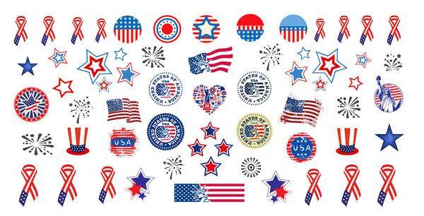 I Love America Nail Art Decals Set #1
