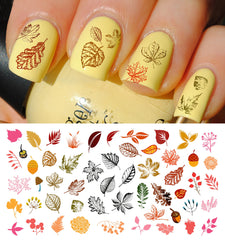 "Autumn Fall Leaves Nail Decals Set #3 - 5 1/2"" x 3"" sheet"