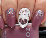 Leopard Skin Heart Nail Art Decals