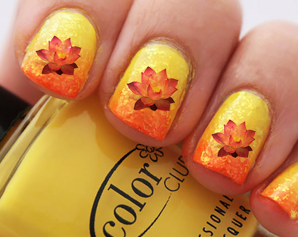 Lotus flower nail decals 32 decals 5 12 x 3 sheet moon lotus flower nail decals 32 decals 5 12 x 3 dhlflorist Image collections