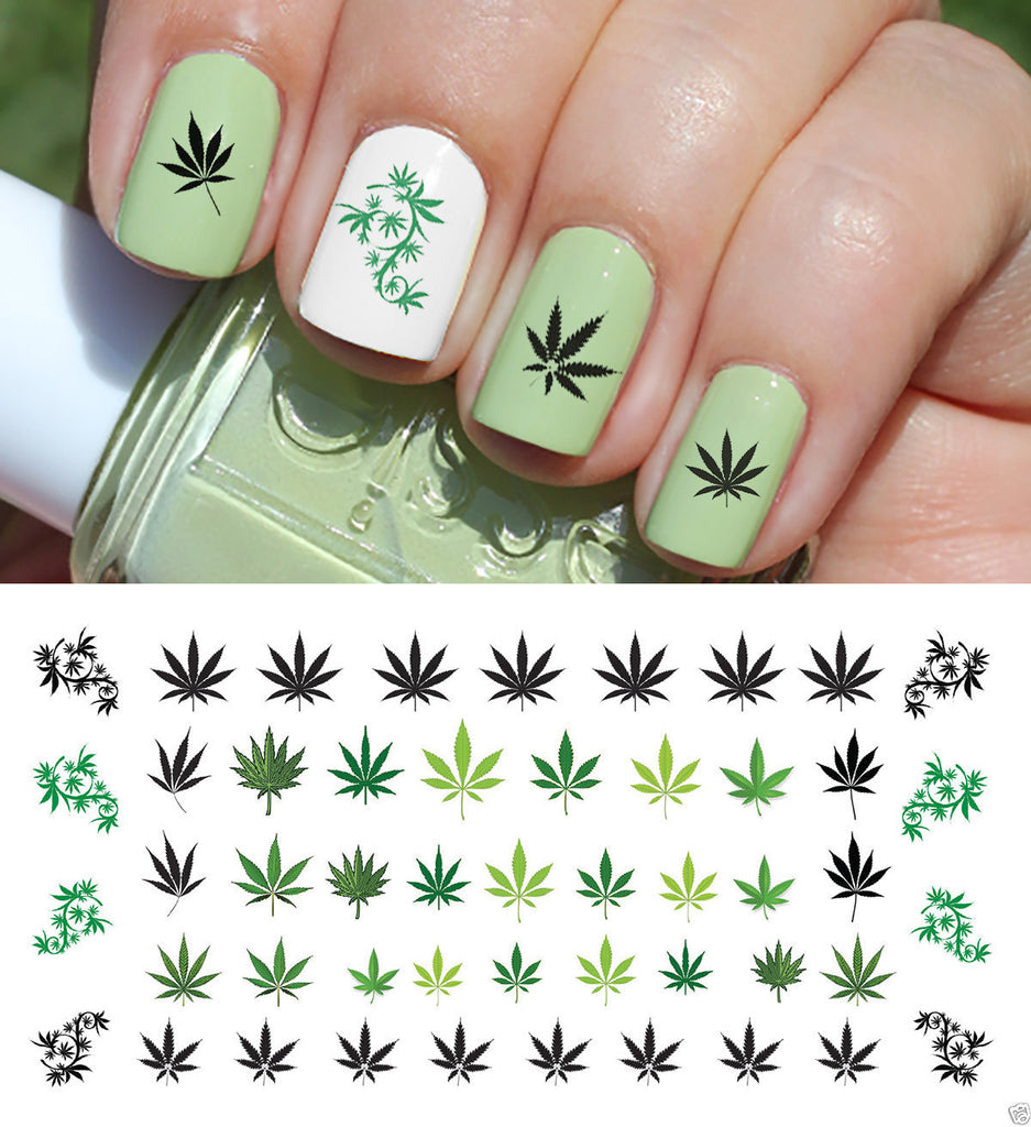 Marijuana Pot Leaf Nail Art Decals Set 2 Moon Sugar Decals