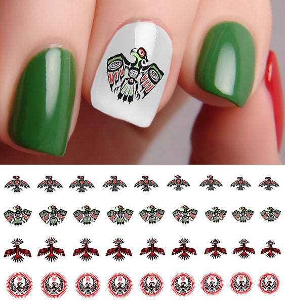 "Native Art Eagle Nail Decals - 28 decals (5 1/2"" x 3"" sheet)"