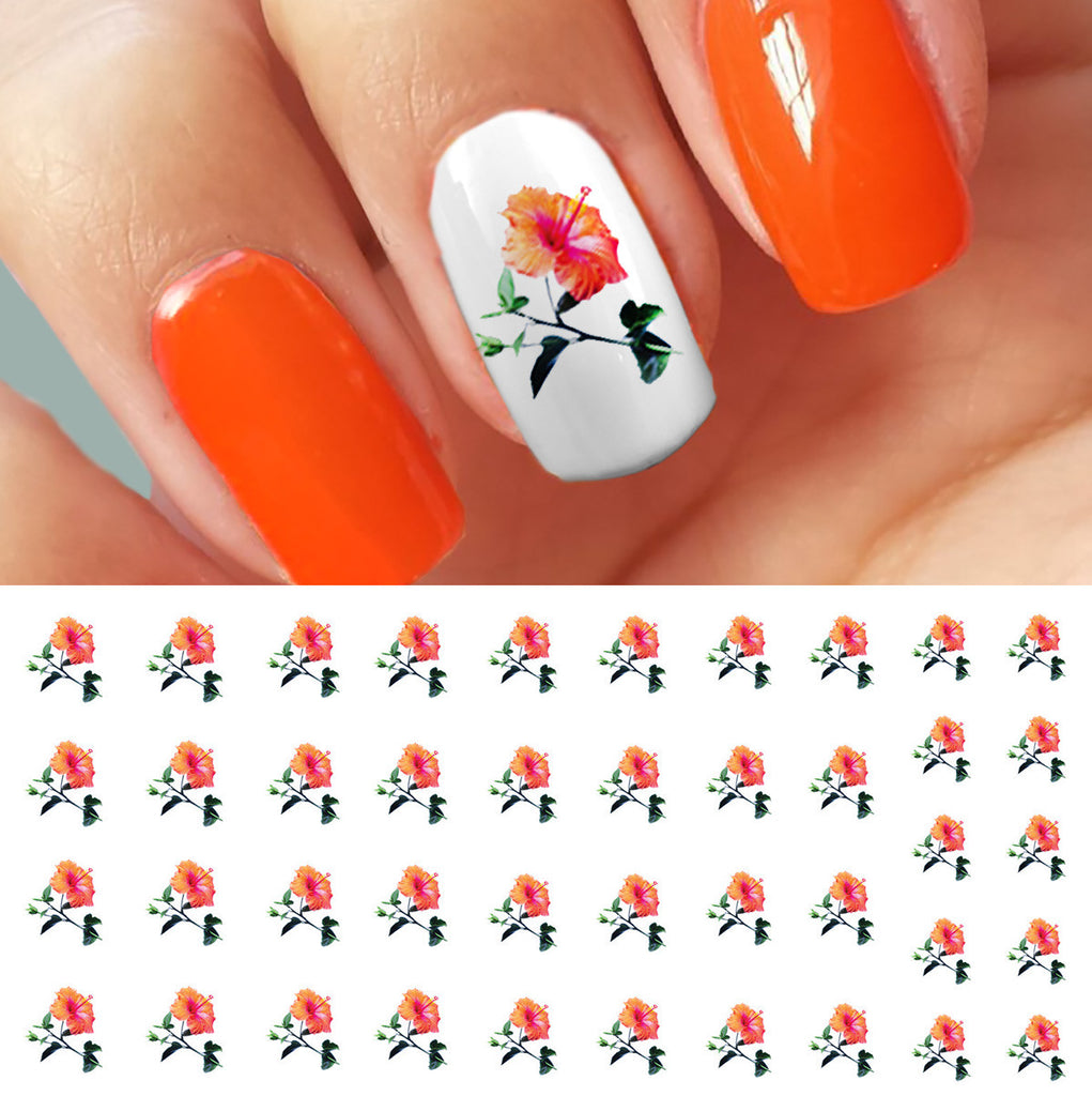 Orange hibiscus flowers nail art decals moon sugar decals orange hibiscus flowers nail art decals izmirmasajfo Gallery
