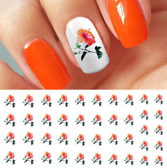 Orange Hibiscus Flowers Nail Art Decals