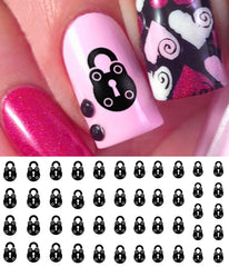 Black Padlock Nail Decals