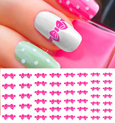 Pink Bow Nail Decals