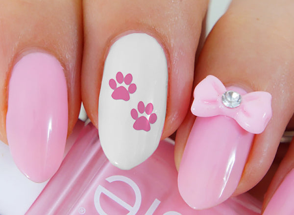 Hot Pink Paw Prints Nail Art Decals