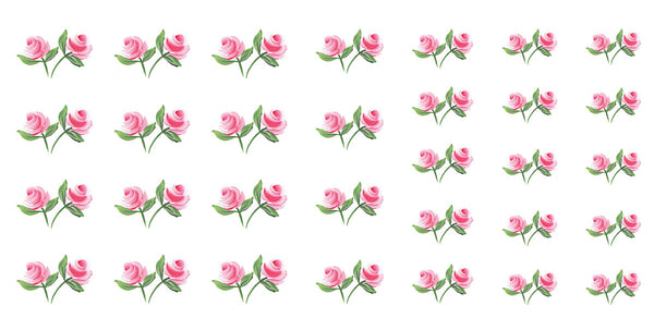 "Pink Roses Nail Decals - 24 decals (5 1/2"" x 3"" sheet)"