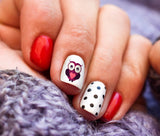 Valentine's Day Owls Nail Art Decals