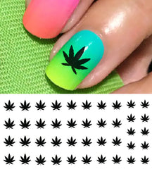 Marijuana Pot Leaf Nail Decals Set #1