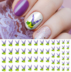 Purple Flower Nail Art Decals