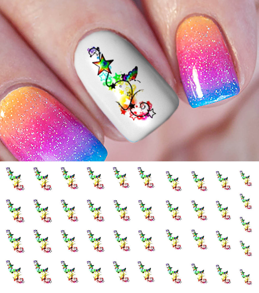 Rainbow Butterfly Star Nail Art Decals Moon Sugar Decals