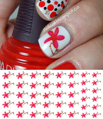 Red Frangipani Flower Nail Art Decals