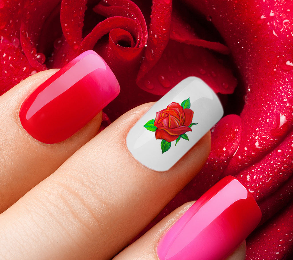 ... Red Rose Nail Art Decals - Red Rose Nail Art Decals – Moon Sugar Decals