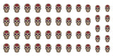 "Red Rose Sugar Skull Nail Decals - 5 1/2"" x 3"" sheet"