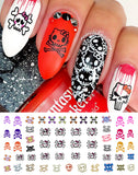 Cute Skulls Set #1 Nail Art Waterslide Decals - Monster High Style